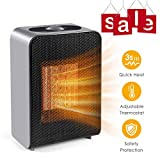 Ceramic Space Heater, Cakie Fast Heating Fan with Auto Shut Off Portable with Adjustable Thermostat for Home Bedroom Personal Desk Heaters for Office,  Electric Heater