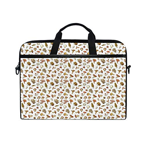 FOURFOOL 15-15.6 inch Laptop Bag,Mushrooms Scattered On Plain Background Nursery Design,New Canvas Print Pattern Briefcase Laptop Shoulder Messenger Handbag Case Sleeve