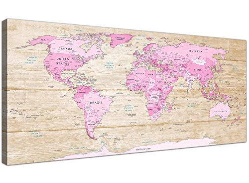 Wallfillers Grote Roze Crème Kaart van de Wereld Atlas Canvas Wall Art Print - Moderne 120cm Breed - 1309