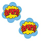 Neva Nude BAM Superhero Nipztix Pasties Nipple Covers for Festivals, Raves, Parties, Lingerie and More, Medical Grade Adhesive, Waterproof and Sweatproof, Made in USA
