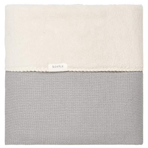 Koeka Babydecke Gefüttert - Plüsch-Decke - Kuscheldecke - Schmusedecke - Cairo - Luftige Baumwolle - Mit Teddy Gefüttert - Waschbar - Grau - 100X150 Cm
