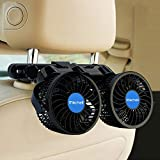 Car Fan, Electric 12V Car Fans for Rear Seat Passenger Portable Car Seat Fan 360 Degree Dual Head Rotatable Back Seat Car Fan Cooling Air Fan with Stepless Speed Regulation for SUV, RV, Van, Vehicles