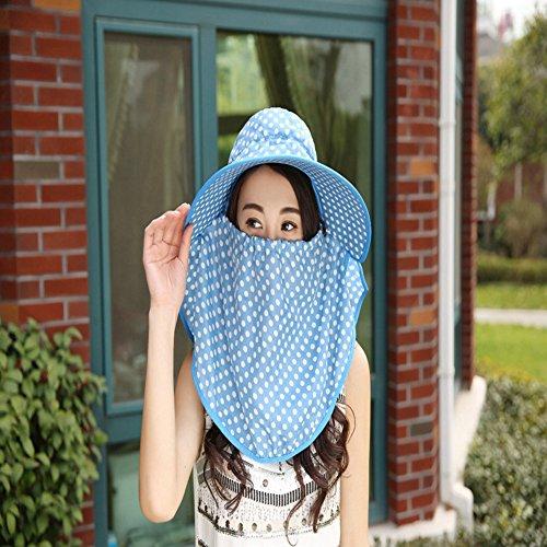 Inovey New da Donna Visiera Wave a Protezione Solare Antivento Estate Tessuto Punto dell' Onda Cappello da Sole con Maniche–Cielo Blu