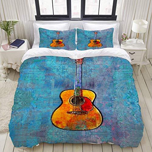 Juego de Funda nórdica, Pintura de Guitarra acústica, Juego de Cama Decorativo Colorido de 3 Piezas con 2 Fundas de Almohada