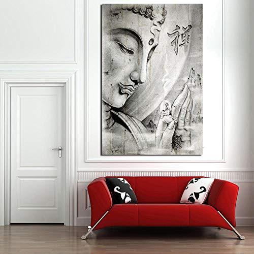 fancj Religiöses Buddha Tattoo auf handgemalte Tapete Leinwand Poster Wandkunst Drucke dekorative Ölgemälde Schlafzimmer Bild Hauptdekoration-30x45cm-Rahmenlos