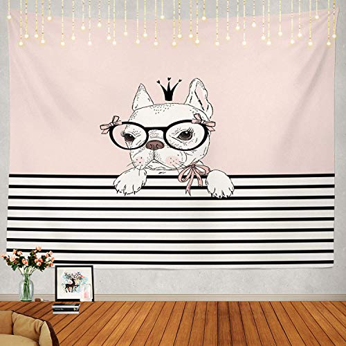 Afccia Cute Tapestry, French Bulldog Princess Wall Hanging Large Tapestry Psychedelic Tapestry Pink Decor for Bedroom Living Room Party Dorm Size: W51.2 x L39.4