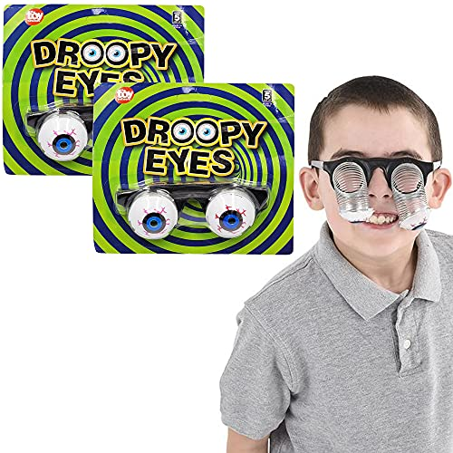The Dreidel Company Halloween Drooping Googly Spring Eyes Glasses, Costume, Funny Halloween Dress-Up, Pretend Play Decoration (2-Pack)