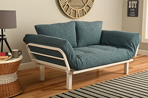 White Metal Frame Small Futon Lounger Furniture | Studio Loft College Dorm Apartments Guest Room Bedroom Covered Patio Sunroom or Porch-Twin Size