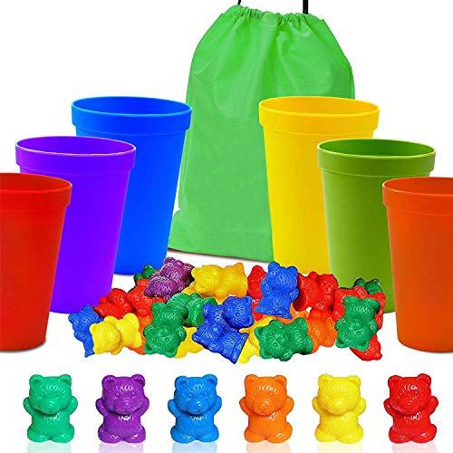 Infantil Juguetes Montessori, Contar con Osos de Colores coordinados Ordenación de Las Copas, Juego Montessori Rainbow Matching, (67 Piezas Set) 60 Osos Colores 6 Copas y 1 Bolsa de Almacenamiento