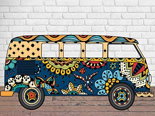 Photocall en Cartón Furgoneta Hippie 300X150cm | Photocall Furgoneta Hippie | Photocall Económico y Original | Photocall Troquelado
