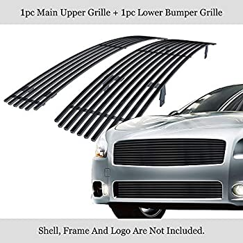 APS Compatible with 2009-2014 Maxima Black Billet Grille Grill Combo Insert N87774H