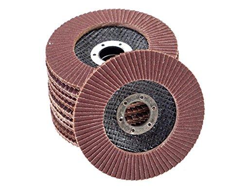 10 Stück Fächerscheiben Standard braun Korn 80 – Ø 115 mm x 22,23 mm/Standard Fächerscheiben/Schleifmopteller/Fächerschleifscheibe