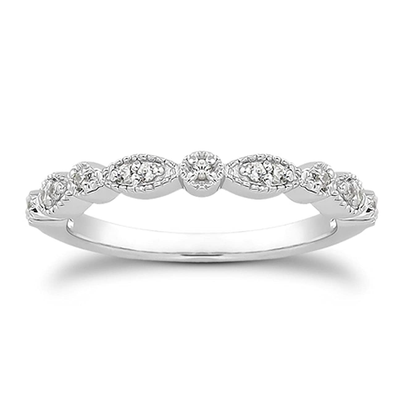 espere Milgrain Marquise & Round Cubic Zirconia Eternity Ring Stacking Infinity Wedding Band Sterling Silver Platium Plated or Rose Gold Plated Size 4-9