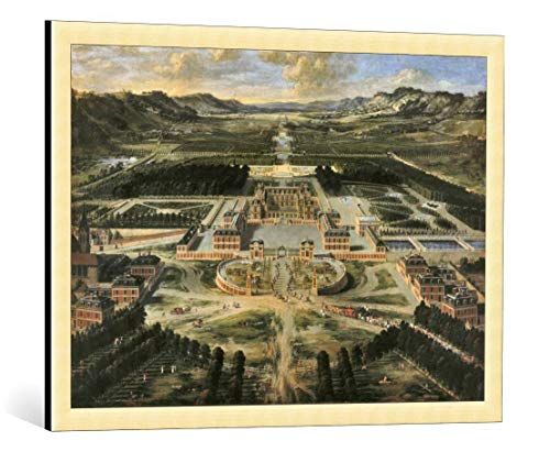 kunst für alle Framed Art Print: Pierre Patel Perspective View Chateau Gardens Park Versailles seen… - Decorative Fine Art Poster, Picture with Frame, 33.5x23.6 inch / 85x60 cm, Gold Brushed