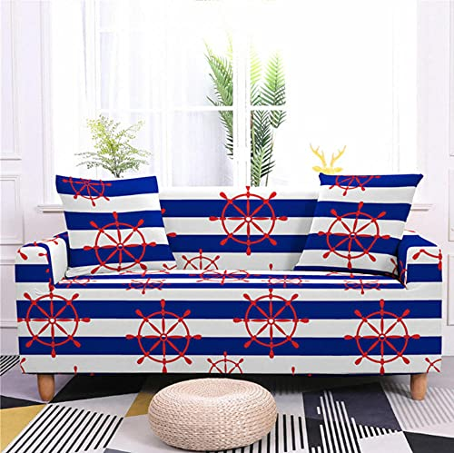 Juego de funda de sofá elástico con diseño de mesa giratoria azul y blanco para sala de estar, sofá cama, silla antisucio para mascotas, 2 asientos