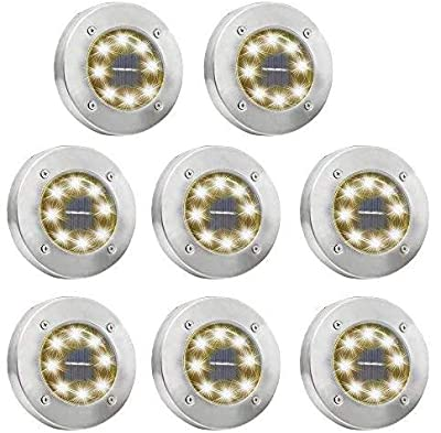 OTYTY Solar Ground Lights, Garden Pathway Outdoor in-Ground Lights with 8 LED (8 Pack White)