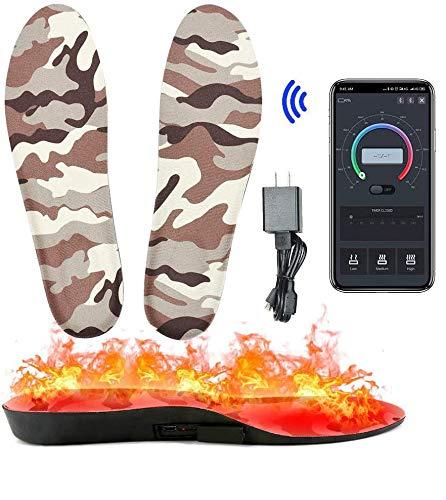 Axcuds Intelligente Scarpe riscaldate elettriche Solette Scaldapiedi App Telecomando Bluetooth con Batteria Ricaricabile Alimentato per Caccia Pesca Escursionismo Campeggio