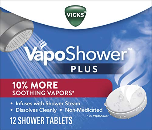 VapoShower Plus, Shower Bomb Tablets, Extra Strong Soothing Vicks Vapors Steam Aromatherapy with Eucalyptus and Menthol, Contains Essential Oils, 12 Tablets