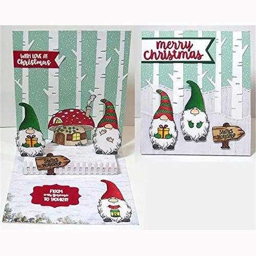 Decor DIY Metal Rubber Photo Album Embossing Christmas Dwarf Stencils Scrapbooking Cut Dies+Clear Stamp,Die Cuts for Card Making(Stamp&Cutting die)