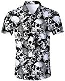 Goodstoworld Camisa Halloween 3D Cráneo Camisa Hawaiana Hombre Original Funky Camisa Hawaiana Señores Manga Corta impresión De Hawaii Playa