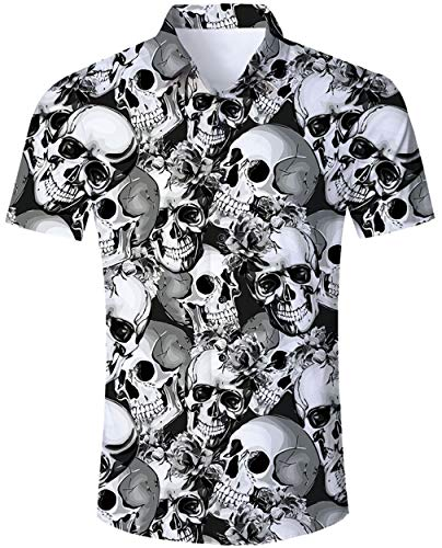 Goodstoworld Halloween Hemd Herren Cool Skull Schädel Hemden Männer Slim Fit Kurzarm Shirt 3D Bedruckte Herrenhemd XXL