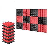 新しい12ピース 250 x 250 x 50 mm ピラミッド 吸音材 防音 吸音材質ポリウレタン SD1034 (黒と赤)