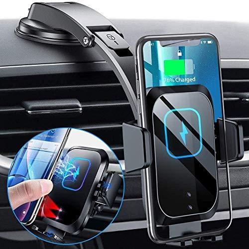 Blsyetec Auto Handyhalterung mit Ladefunktion 15W Wireless Charger Auto 3 Automatisches Spannen KFZ Qi Induktion Saugnapf Halter & 360° Belüftungsclip für iPhone 12 11 SE 2 X Samsung S20/S10/S9