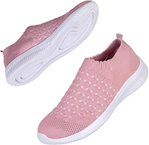 Keluomanduo Women's Athletic Walking Sock Shoes Elastic Mesh-Breathable Casual Easy Slip on Tennis Sneakers (01-Pink, Numeric_9)