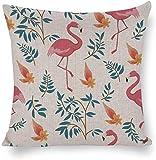 Ropa de Cama Liviana y Transpirable de algodón y cáñamo Doble Flor Flamingo Antiestático para inauguración de la casa Familiar Boda Día de San Valentín 18 × 18 '