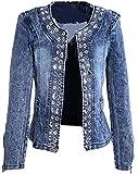 OFF-KEWIS Women Fashion Jacket Jeans Denim Long Sleeve Slim Sequins Jacket Coat
