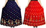 GAYATRI Fashion Women's Cotton Printed Wrap Around Long Skirts (Fashioncombo-001, Multicolour, Free Size)- Combo of 2 (Combo-8)