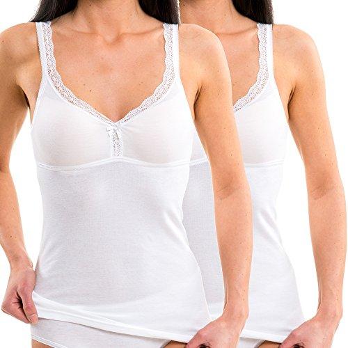 HERMKO 175803850 Kit de 2 Top con Sujetador de Encaje para Mujer, Camiseta con Bustier Integrado, Farbe:Blanco, Größe Damen:40/42 (M)