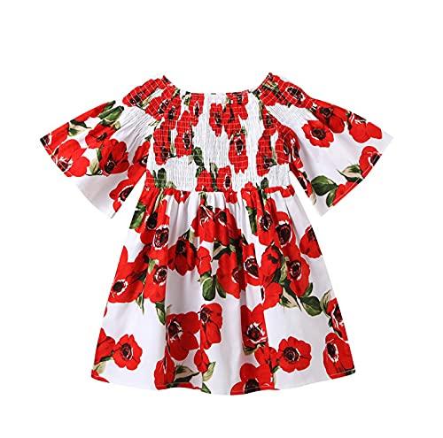 puseky Vestido de niña recién nacida vestido de estampado de flores