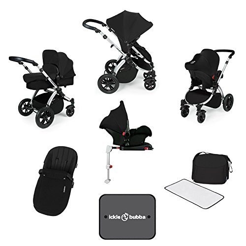 Ickle Bubba Stomp V3 All-in-One Baby Reisesystem mit Isofix Basis - Schwarz auf Silber Gestell
