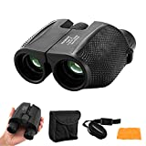 Powerful 10x25 Binoculars for Bird Watching,Bak4 Prism Birding Binoculars for Adults Compact,Waterproof Fogproof HD Binoculars for Hunting/Concerts/Landview,(Black