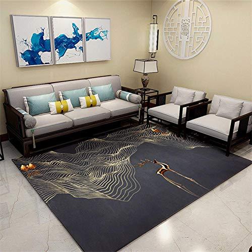 Alfombra De Salon Grandes Negro Alfombra de sala de estar negra con patrón de malla abstracta alfombra de varios tamaños antiácaros Alfombra Jardin 100X160 CM Alfombras De Exterior 3ft 3.4''X5ft 3''