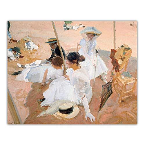 Playa Juego Poster Imprimir JoaquíN Sorolla Lienzo óLeo Pintura Abstracto Pared Arte Vintage Arte Cuadro Salon HabitacióN Dormitorio Decoracion 50x60cm No Marco
