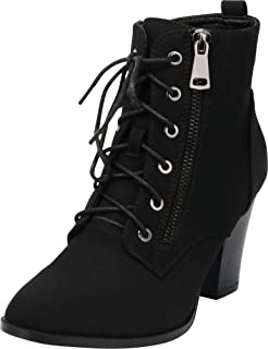 Cambridge Select Women's Lace-Up Moto Combat Chunky Stacked Block Heel Ankle Bootie
