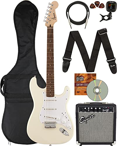 Fender Squier Stratocaster Electric Guitar Bundle with Frontman 10G Amp, Gig Bag, Clip-on Tuner, Strap, Cable, Picks, and Austin Bazaar Instructional DVD - Olympic White