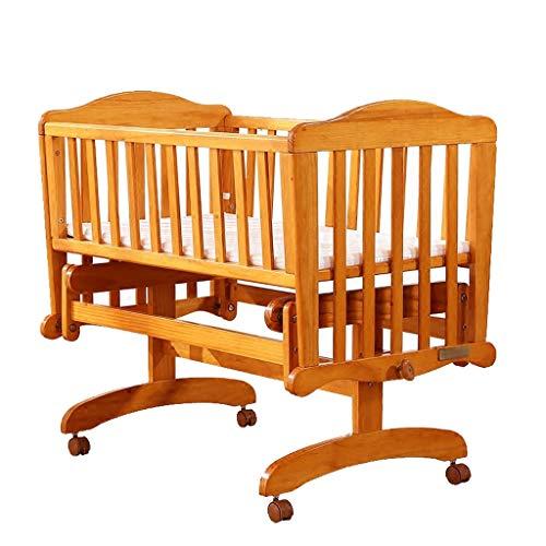 Babybett Baby Kinderbett Massivholz Multifunktions Kinderbett Bett Kinderbett mit Roller (Farbe : Holzfarbe, größe : 98.7 * 57 * 87.5cm)