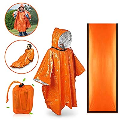 EASTERUP Emergency Sleeping Bag Ultralight Waterproof Thermal Emergency Bivy Sack Survival Use as Mylar Emergency Blanket with Survival Whistle Compact Survival Gear