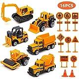 Feleph Camiones de construcción Set 16pcs Tractor Excavadora Volcado...
