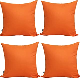 Best 4-Pack 100% Cotton Comfortable Solid Decorative Throw Pillow Case Square Cushion Cover Pillowcase (Cover Only,No Insert)(18x18 inch/ 45x45cm,Orange) Review