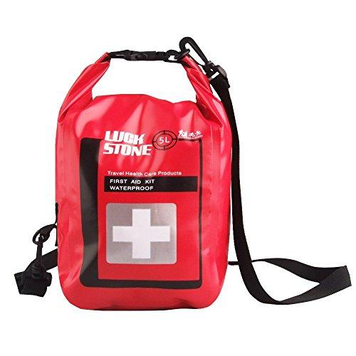 Praktische Erste Hilfe Kit Wasserdicht Tasche leer mit Sichtbarem Fenster im Freien Notfalltasche Dry Bag für Outdoor Camping Wandern Reisen Motorradtouren Radsport Angeln Kajak (5L)