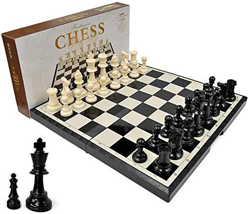 YZ-YUAN Juegos Casuales Accesorios para el hogar Tablero de ajedrez Juego de ajedrez Juego de Tablero de ajedrez estándar de Madera Plegable con Piezas de Madera y Ranuras de Almacenamiento de Pieza