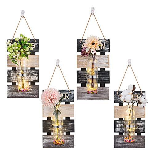 Glasseam Jardinera de Vidrio de Pared de 4 Piezas con Tablero de Madera y jarrón de Pared de luz LED Decoración rústica para propagar Plantas hidropónicas Terrario Colgante Oficina