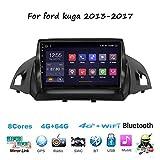 para Ford Kuga 2013-2017 Sat Nav Doble DIN Car Stereo Radio Navegación GPS Pantalla táctil de 9 Pulgadas Unidad Principal Reproductor Multimedia Receptor de Video WiFi Bluetooth
