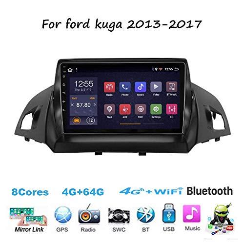 Für Ford Kuga 2013-2017 Navi Doppel-Din Auto Stereo Radio GPS Navigation 9 Zoll Touchscreen Head Unit Multimedia Player Videoempfänger WiFi Bluetooth
