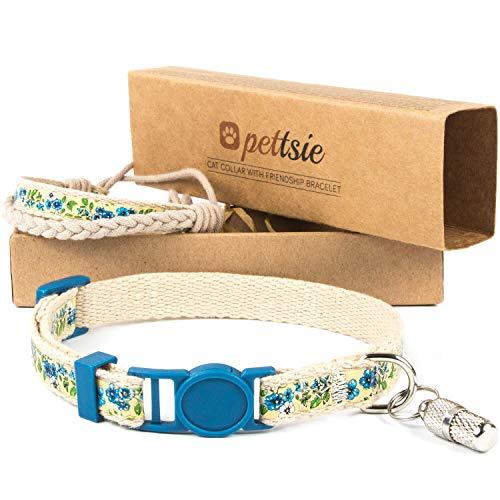 pettsie Katzenhalsband mit Sicherheitsverschluss und Freundschaftsarmband für Sie, ID-Tag enthalten, Starke 100% Baumwolle, D-Ring für Zubehör, einstellbare Größe 19-29 cm