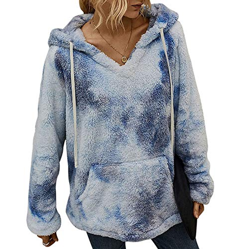 iMixCity Suéter de Lana borroso para Mujer Sudadera con Capucha de Sherpa con Estampado de teñido Anudado Peludo Abrigo Informal Suelto con Bolsillo (Azul Claro, L)